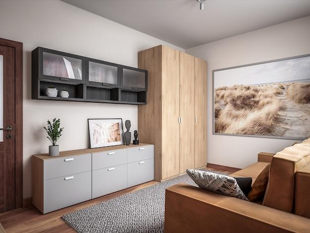 Raum der architektur-3d Premium Fotos