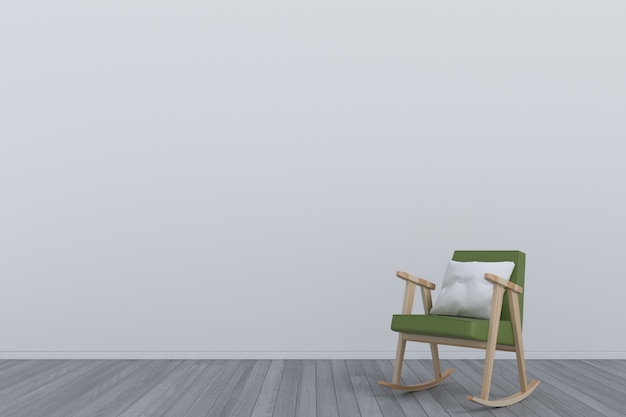 Raum mit grünem lehnsessel auf bretterboden Premium Fotos
