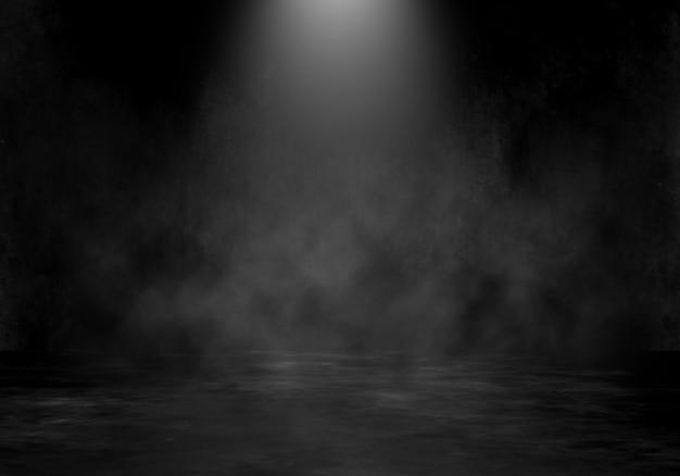 Rauminnenraum des schmutzes 3d mit scheinwerfer und hintergrund der rauchigen atmosphäre Kostenlose Fotos