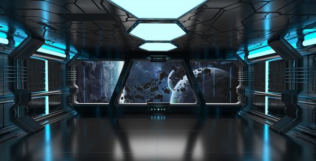 Raumschiffinnenraum mit ansicht über wiedergabeelemente des entfernten planetensystems 3d dieses bildes geliefert von der nasa Premium Fotos