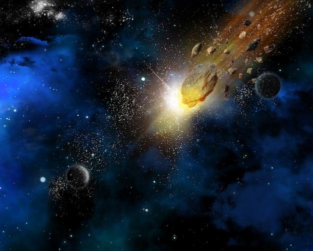 Raumszenenhintergrund mit meteoriten Kostenlose Fotos