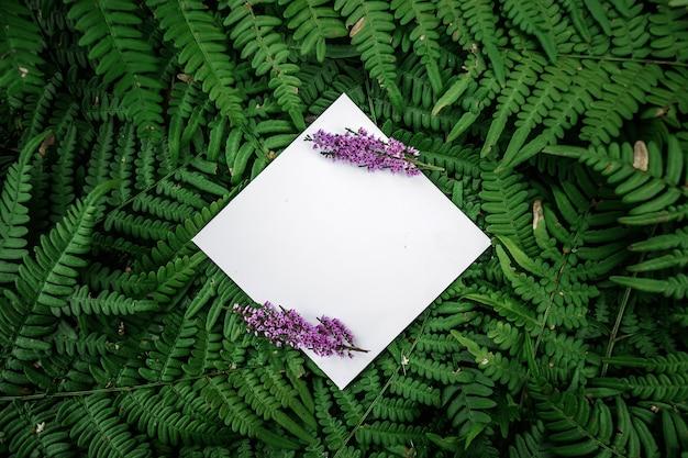 Rautenpapierrahmen auf einem grünen blumenhintergrund Premium Fotos