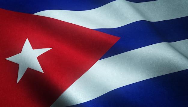 Realistische aufnahme der wehenden flagge kubas mit interessanten texturen Kostenlose Fotos