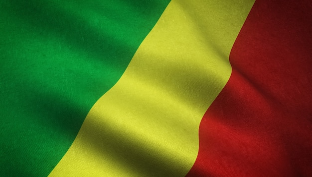 Realistische aufnahme der wehenden flagge von mali mit interessanten texturen Kostenlose Fotos