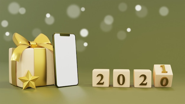 Realistische geschenkbox mit 3d-rendering der neujahrswürfel Premium Fotos