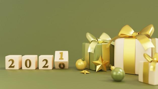 Realistische geschenkbox mit neujahrswürfelwiedergabe Premium Fotos