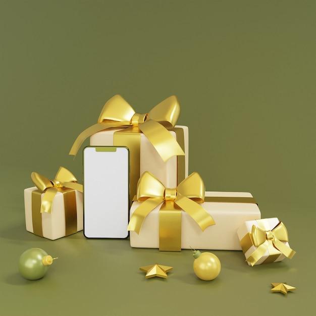 Realistische geschenkboxen mit smartphone- und golddekorations-3d-rendering Premium Fotos