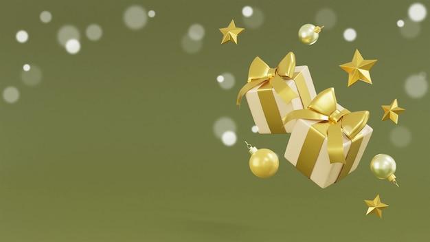 Realistische geschenkboxen und 3d-rendering der golddekoration Premium Fotos