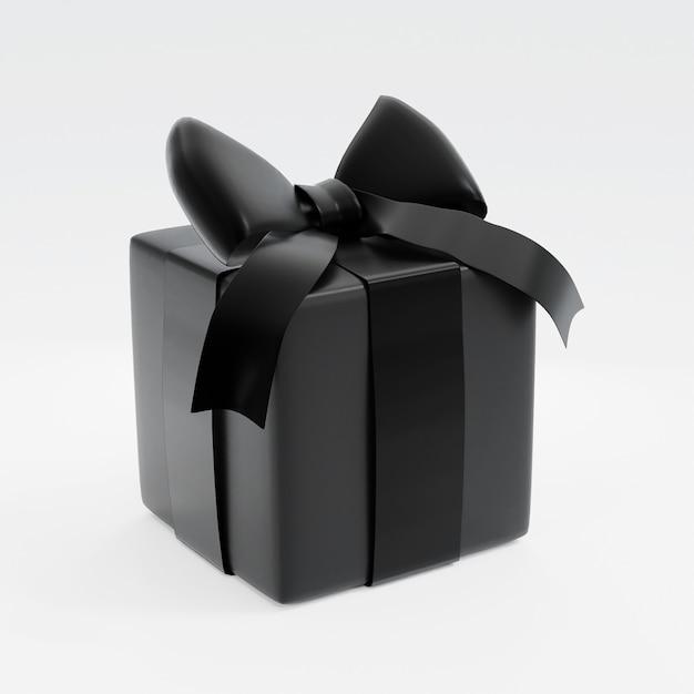 Realistische schwarze geschenkbox auf weißem hintergrund. 3d-rendering Premium Fotos