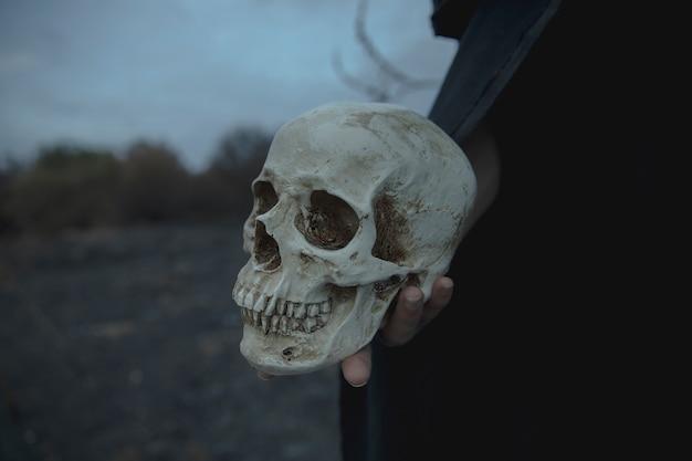 Realistischer zementschädel der nahaufnahme für halloween Kostenlose Fotos