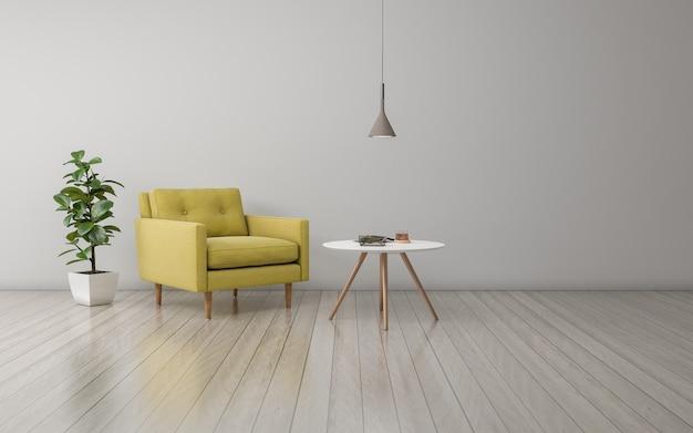 Realistisches 3d übertragen vom innenraum des modernen wohnzimmers mit sofa, couch und tabelle Premium Fotos