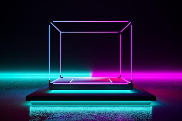 Rechteckbühne mit neonlicht Premium Fotos