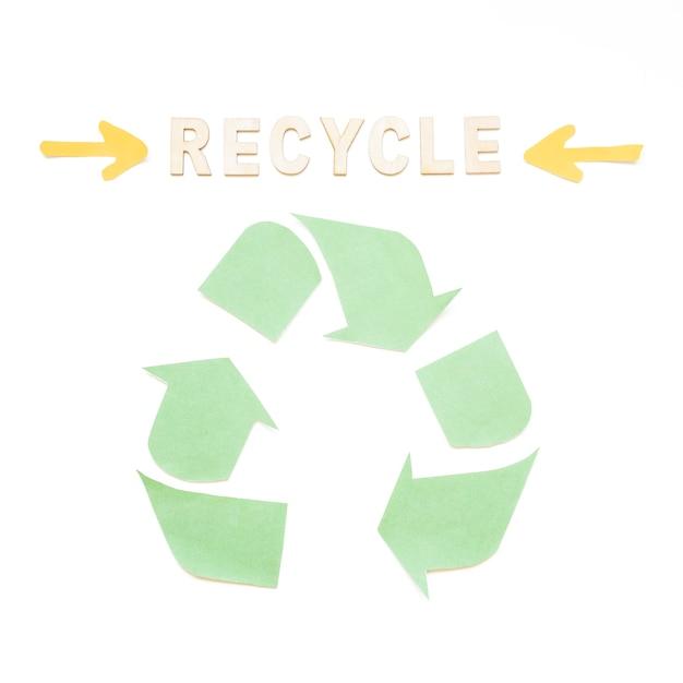 Recycling-wort mit symbol Kostenlose Fotos