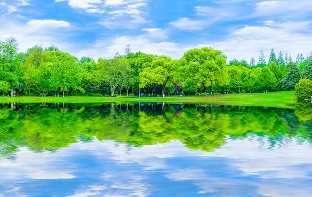 Reflexion garten landschaft rasen abstrakten hintergrund blauen himmel und weißen wolken Kostenlose Fotos