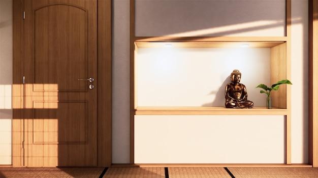 Regal wandgestaltung zen interieur des wohnzimmers im japanischen stil. 3d-rendering Premium Fotos