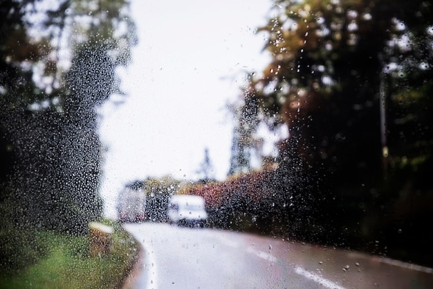 Regeneffekt auf straßenhintergrund Kostenlose Fotos