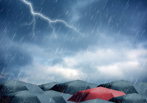 Regenschirme unter regen und gewitter Premium Fotos