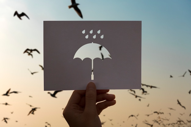 Regenzeitperforierter papierregenschirm Kostenlose Fotos