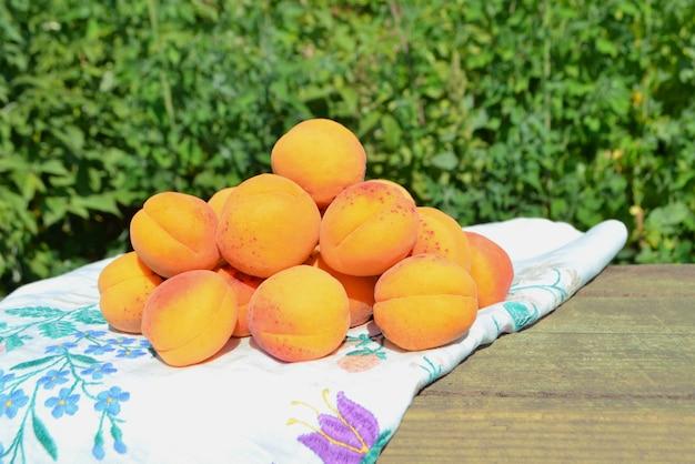 Reife aprikosen auf grünem hintergrund Premium Fotos
