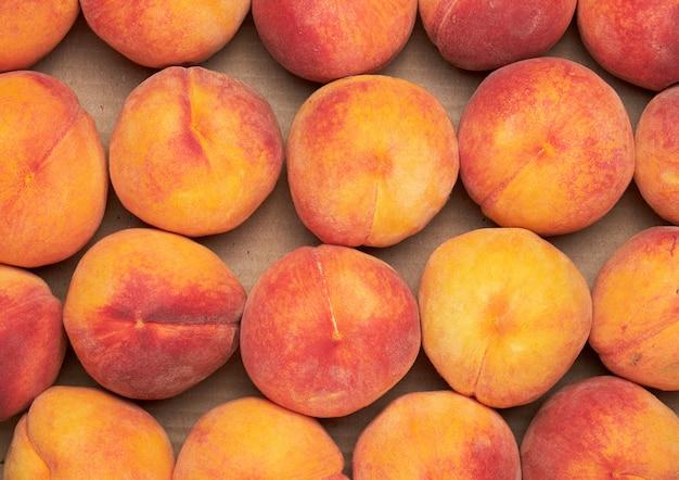 Reife gelb-rote runde pfirsiche liegen in einer reihe Premium Fotos