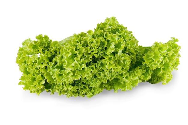 Reifer salat mit grünen blättern isoliert. nahaufnahme von frischem bio-gemüselebensmittel, diätkonzept Premium Fotos