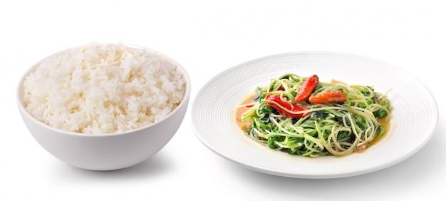 Reis in einer weißen schüssel köstliches essen thailand art Premium Fotos