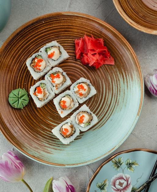 Reis sushi draufsicht Kostenlose Fotos