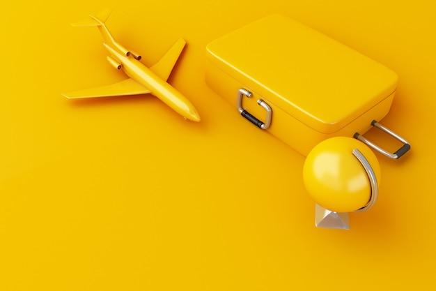 Reise 3d koffer, flugzeug und weltkugel. reise-konzept. Premium Fotos