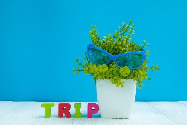 Reise beschriftet text und kleinen dekorationsbaum Premium Fotos