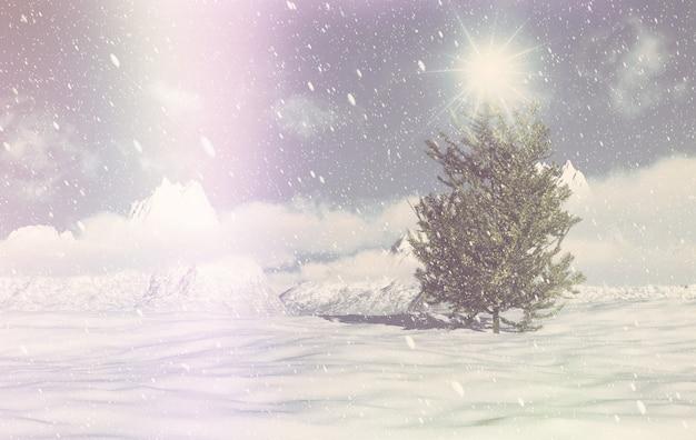 Retro 3d weihnachtswinterszene Kostenlose Fotos