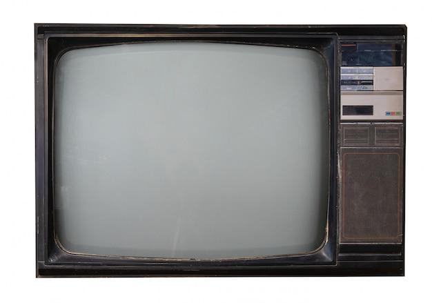 Retro- fernsehen getrennt auf weiß mit ausschnittspfad Premium Fotos