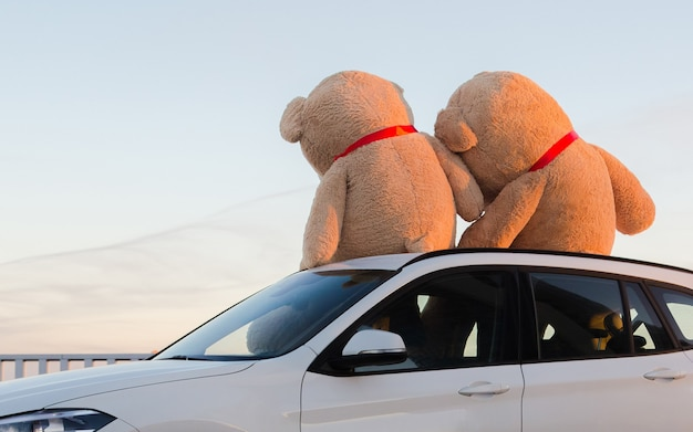 Riesige teddybären mit roten bändern sitzen oben auf der motorhaube im freien. Premium Fotos