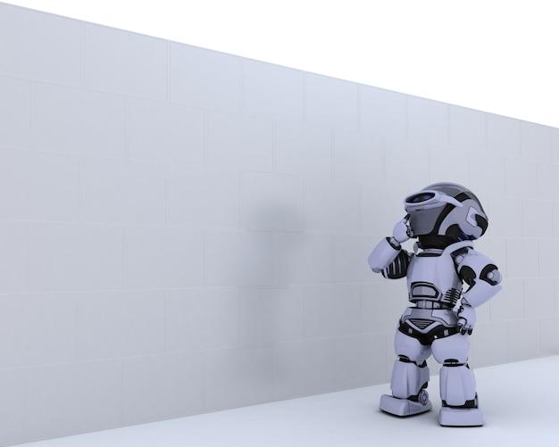 Roboter, der nachdenklich einer weißen wand betrachtet Kostenlose Fotos