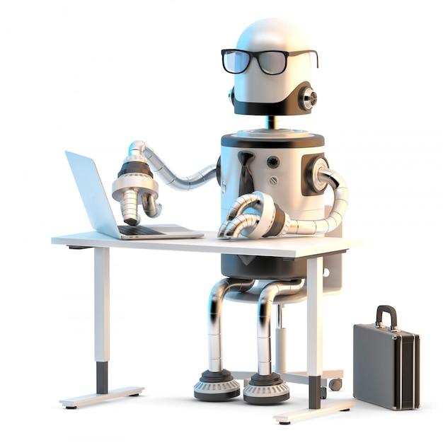 Roboter, die im büro arbeiten. 3d-darstellung. Premium Fotos