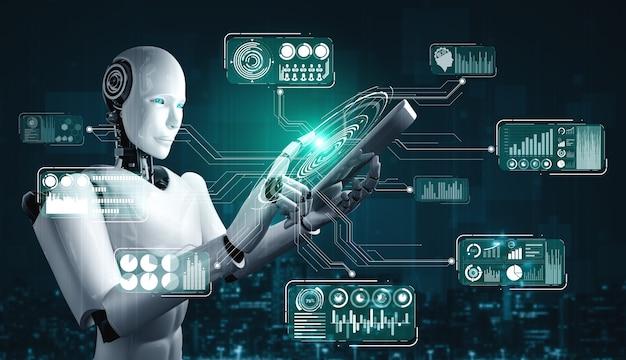 Roboter-humanoid, der tablet-computer für big-data-analyse unter verwendung des ki-denkenden gehirns verwendet Premium Fotos
