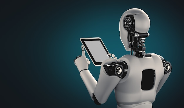 Roboter-humanoid, der tablet-computer im zukünftigen büro verwendet Premium Fotos