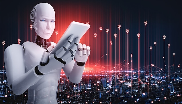 Roboter humanoid mit einem telefon Premium Fotos