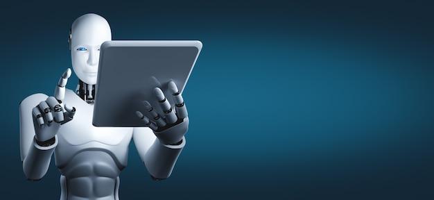 Roboter humanoid mit tablette Premium Fotos
