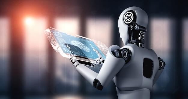 Roboter-humanoid unter verwendung eines tablet-computers für die big-data-analyse unter verwendung von ai thinking brai Premium Fotos