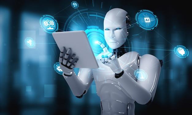 Roboter-humanoid unter verwendung eines tablet-computers im konzept des ki-denkenden gehirns Premium Fotos