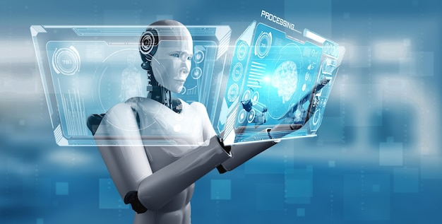 Roboter humanoid verwenden handy oder tablet im konzept des ki denkenden gehirns Premium Fotos