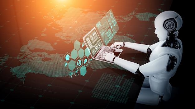 Roboter-humanoid verwenden laptop und sitzen am tisch für big-data-analysen mit ai thinking brain Premium Fotos