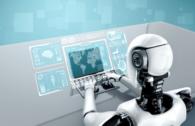 Roboter-humanoid verwenden laptop und sitzen am tisch für big-data-analysen Premium Fotos