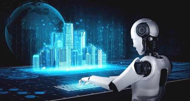 Roboter-humanoid verwenden laptop und sitzen am tisch für globale netzwerkverbindung Premium Fotos