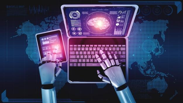 Roboter humanoid verwenden laptop und sitzen am tisch im konzept des ki denkenden gehirns Premium Fotos