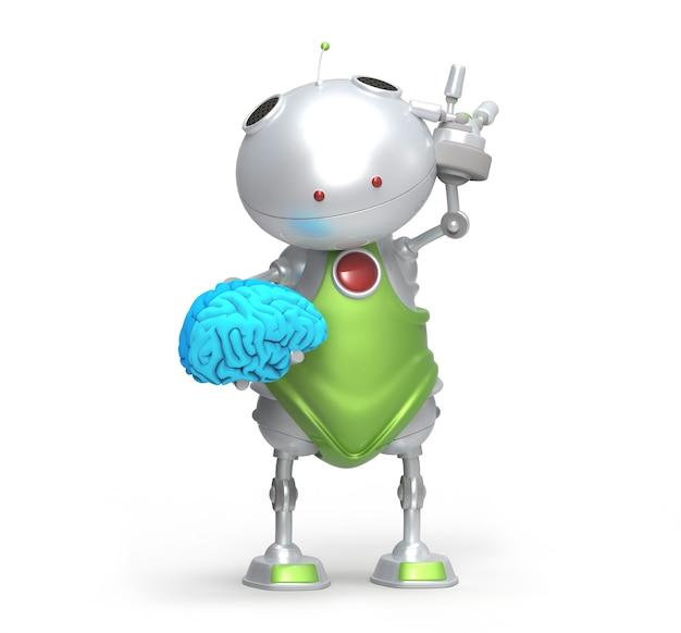 Roboter mit einem gehirn in seiner hand, getrennt Premium Fotos