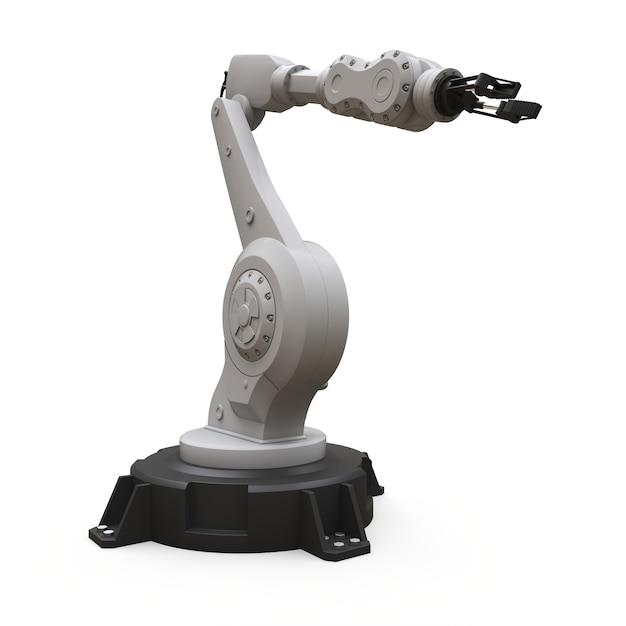 Roboterarm für jede arbeit in einer fabrik oder produktion. mechatronische ausrüstung für komplexe aufgaben. 3d-rendering. Premium Fotos