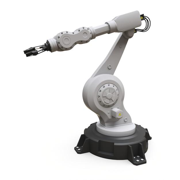 Roboterarm für jede arbeit in einer fabrik oder produktion. mechatronische ausrüstung für komplexe aufgaben. abbildung 3d. Premium Fotos