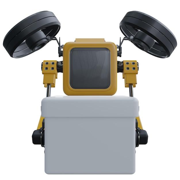 Roboterbrummen liefert lieferung. transportroboterbrummen. getrennt auf weißem hintergrund. Premium Fotos