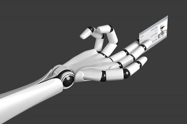 Roboterhand, die heraus eine karte mit passdaten hält Premium Fotos